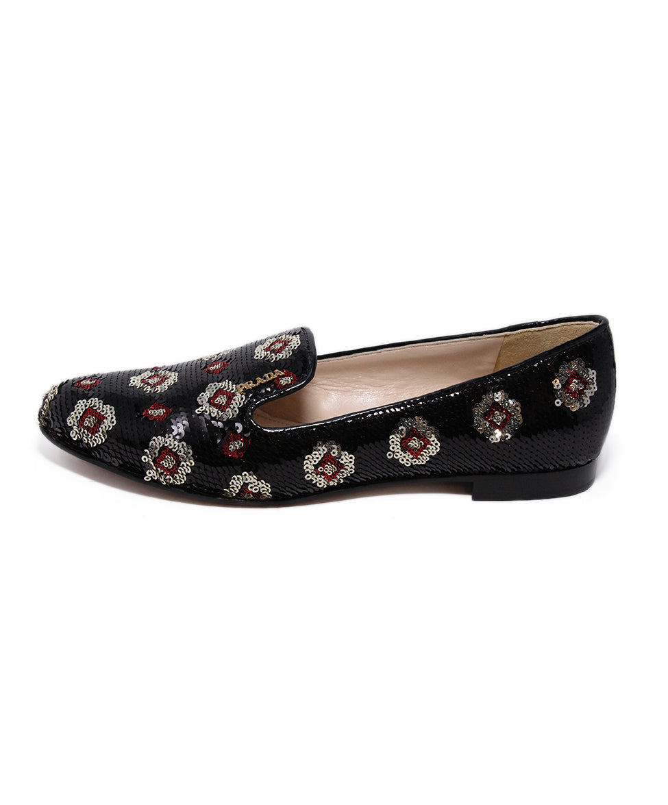Prada Black Red Silver Sequins Flats 2