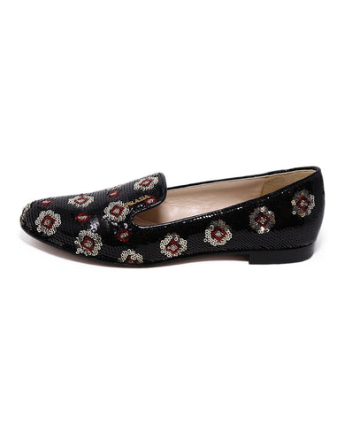 Prada Black Red Silver Sequins Flats 1
