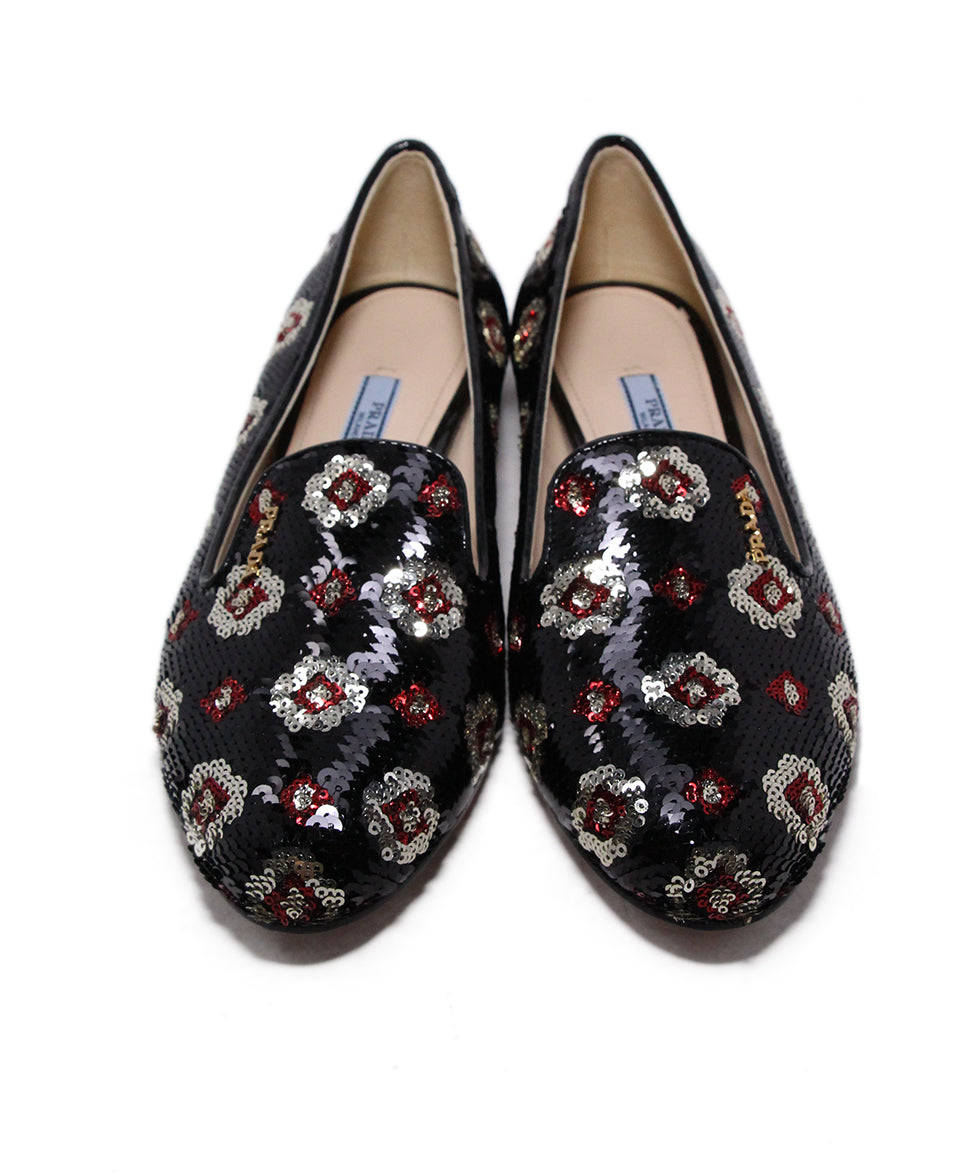 Prada Black Red Silver Sequins Flats 4