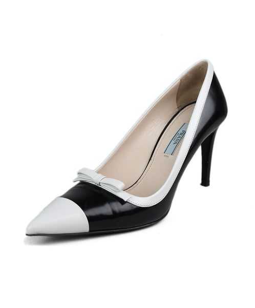 Prada Black White Leather Heels 1