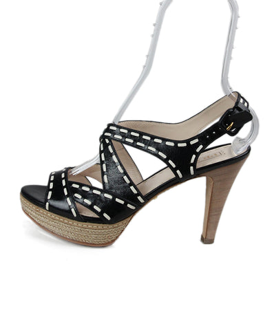 Prada Black White Leather Sandals 1
