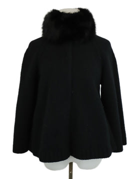 Prada Black Wool Fox Fur Collar Cardigan Sweater 1
