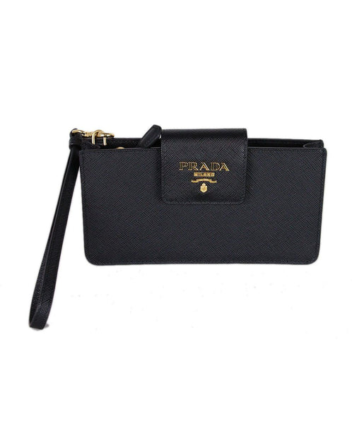 Prada Black leather wristlet 1