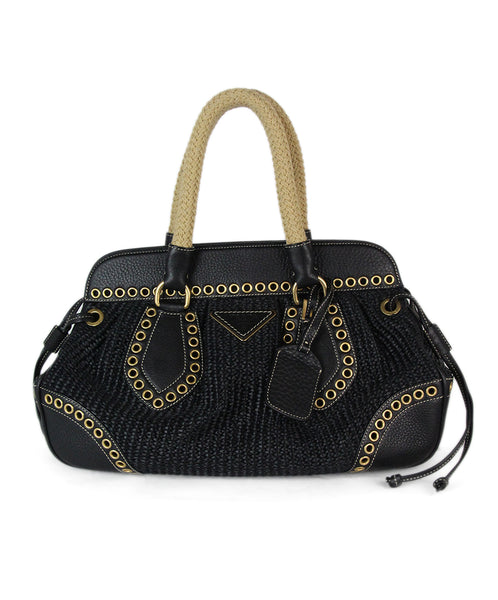 Prada Black raffia grommet trim bag 3