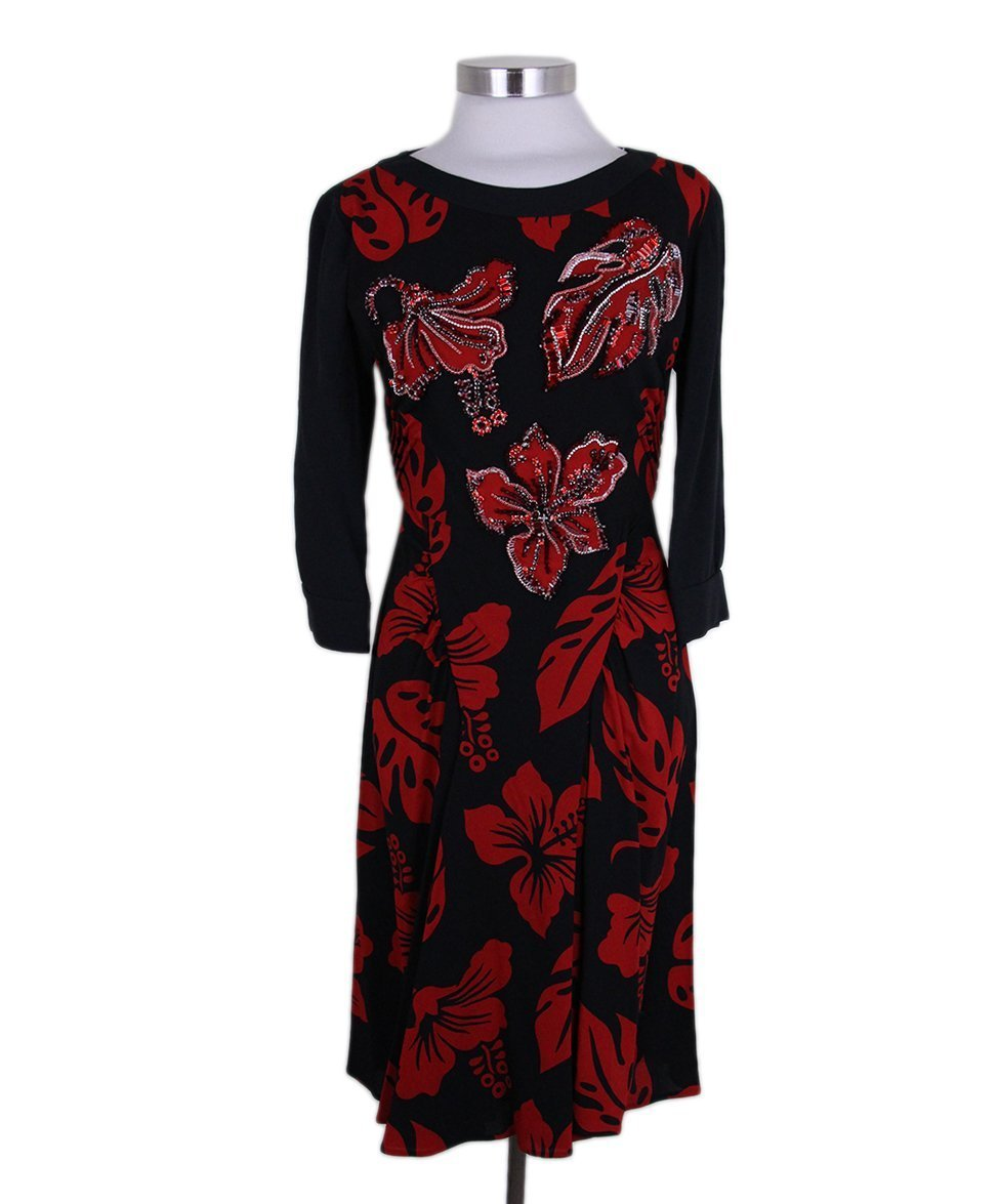 Prada Black red Print Rhinestones dress 1