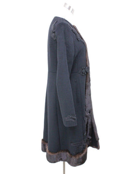 Coat Prada Size 8 Black Wool Angora Beaded Mink Trim Outerwear