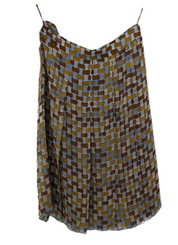 Prada Blue Mustard Silk Skirt 2