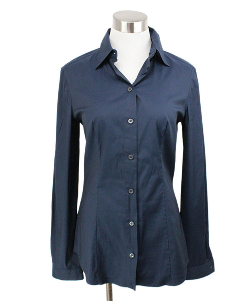 Prada Blue Navy Silk Top 1
