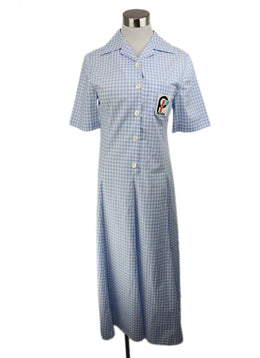 Prada Blue White Cotton Check Print Dress 1