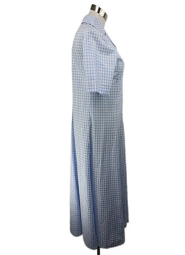 Prada Blue White Cotton Check Print Dress 2
