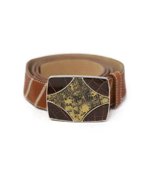 Prada Brown Alligator Leather Belt