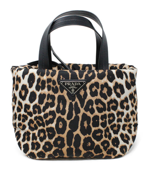 Prada Nylon Brown and Black Animal Print Satchel 1