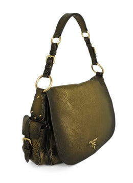 Prada Brown Bronze Leather Shoulder Handbag 2