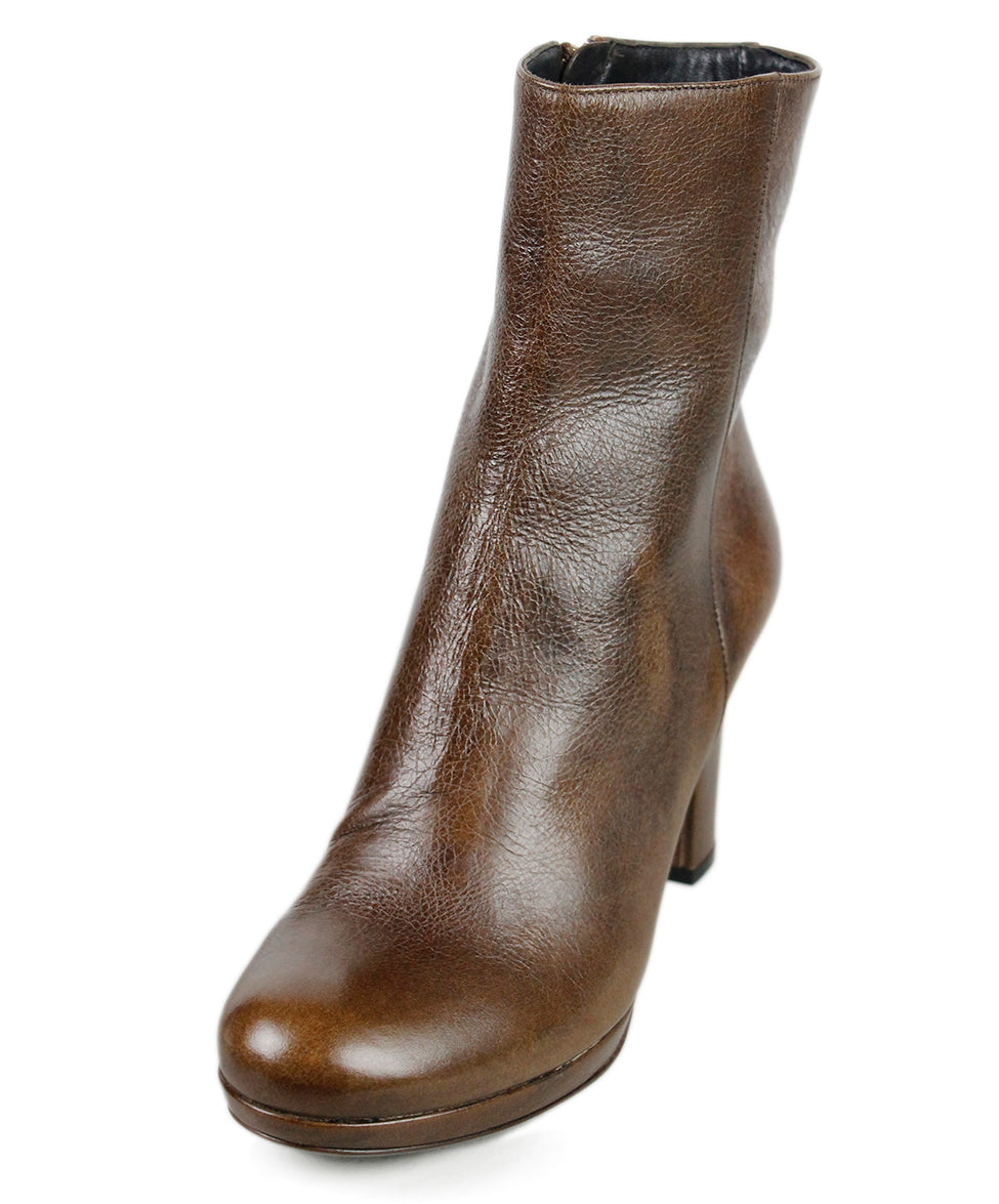 Prada Brown Distressed Leather Boots Sz 37.5