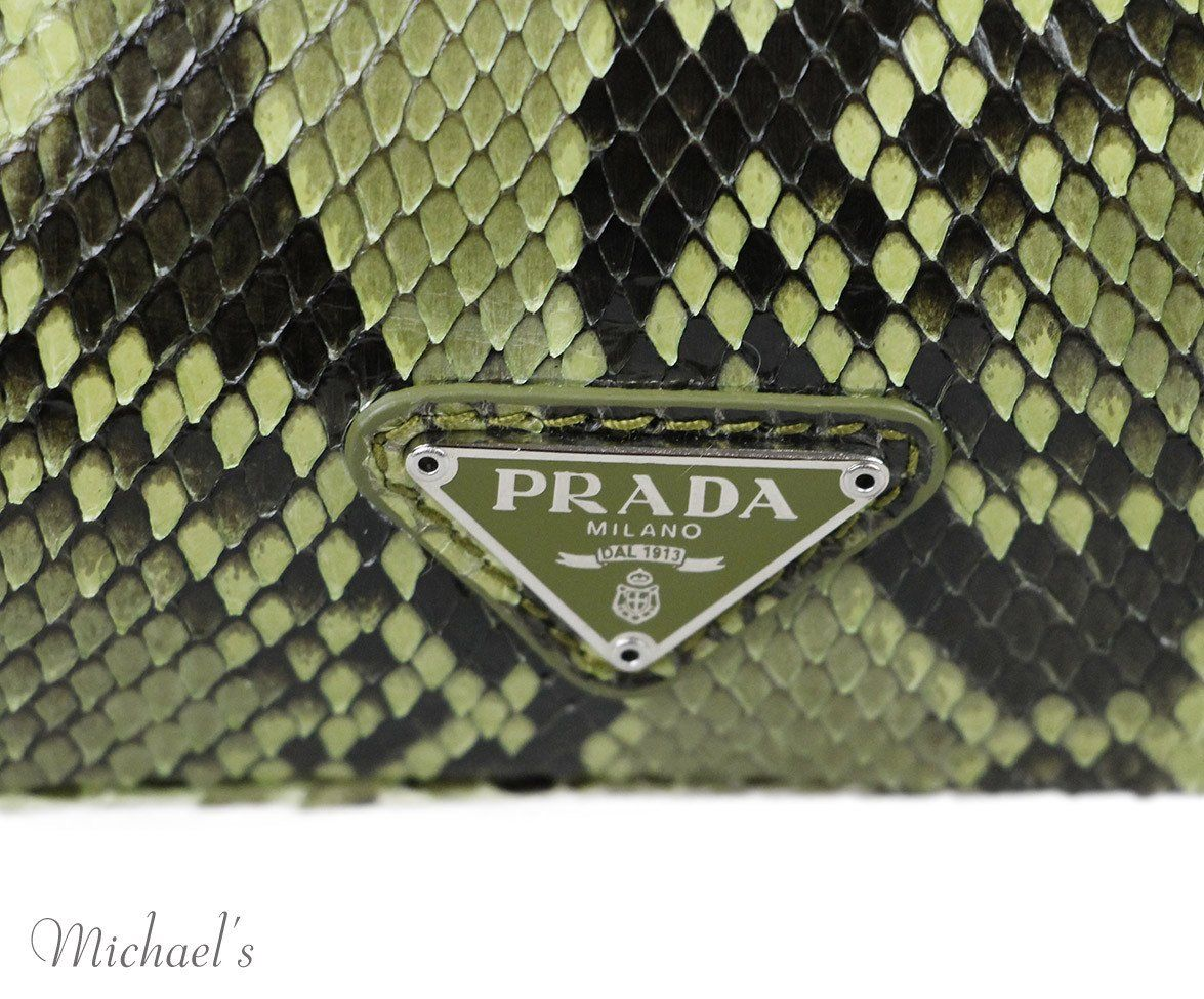 Prada Brown Green Tan Snake Skin  Handbag