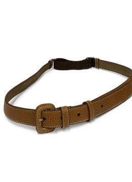 Prada Neutral Tan Leather Elastic Trim Belt