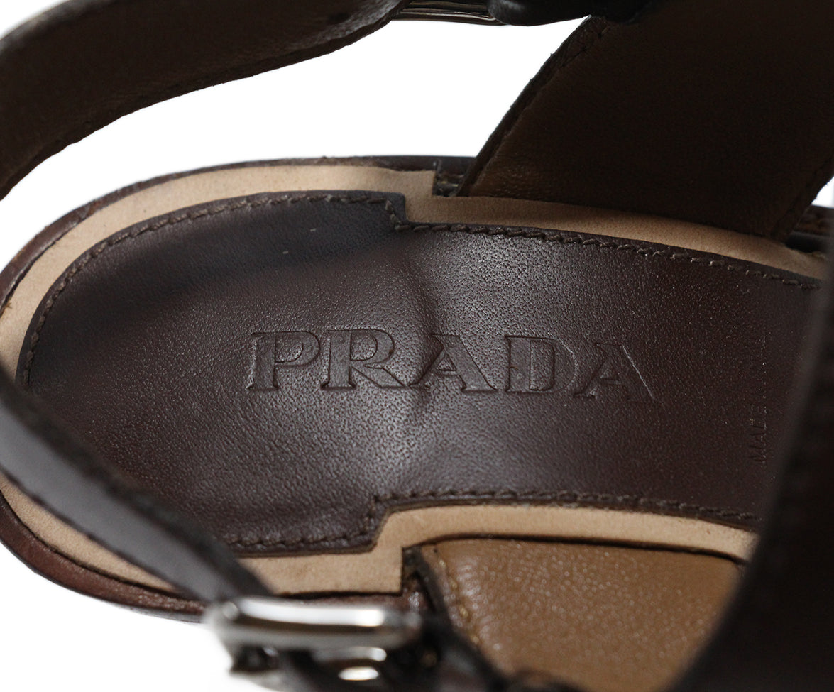 Prada Brown Leather Heels 7