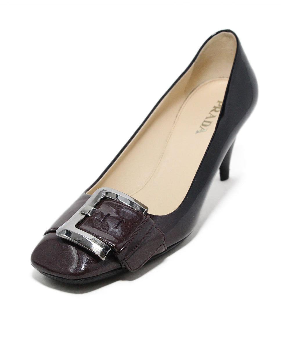 e7cb4162e231 Prada Heels US 7.5 Brown Black Patent Leather Silver Hardware Shoes ...