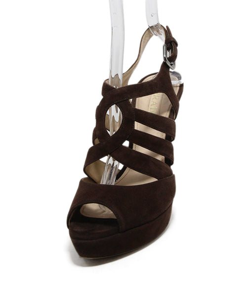 Prada Brown Suede Platform Sandals 1