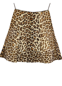 Prada Brown Tan Leather Leopard Print Calfhair Skirt 1