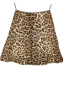 Prada Brown Tan Leather Leopard Print Calfhair Skirt 2