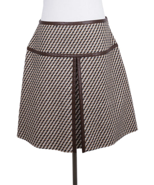 Prada Brown White Wool Leather Skirt 1