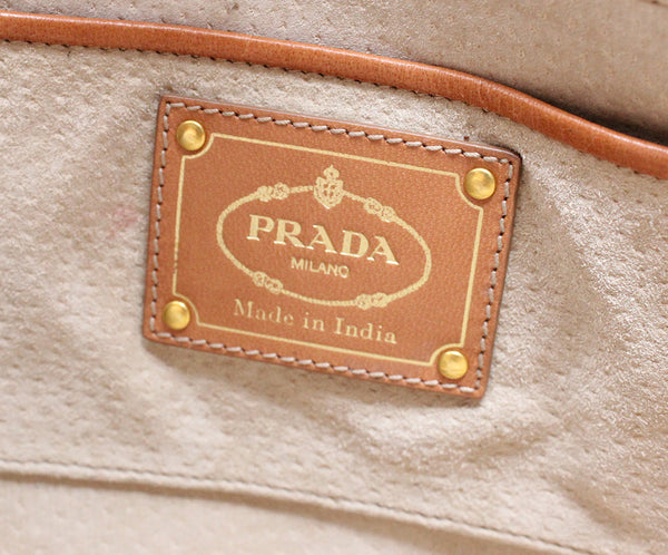 Prada Brown Woven Leather Handbag 7