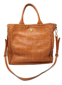 Prada Brown Woven Leather Handbag 1
