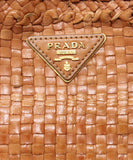 Prada Brown Woven Leather Handbag 8