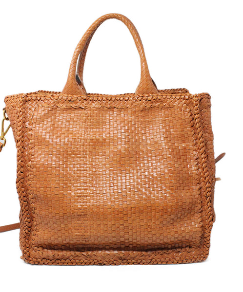 Prada Brown Woven Leather Handbag 3