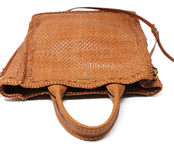 Prada Brown Woven Leather Handbag 5