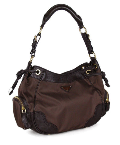 Prada Brown leather Nylon Shoulder Bag 1
