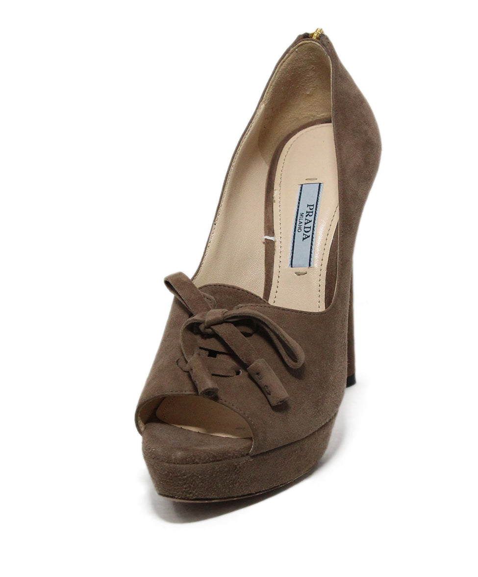 56d5989d12 Prada Heels US 6.5 Brown Suede Shoes - Michael's Consignment NYC