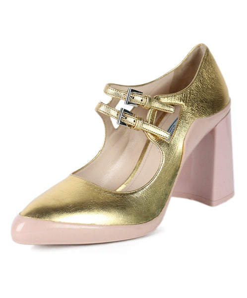 Prada Gold Pink Leather Rubber Shoes Sz 38