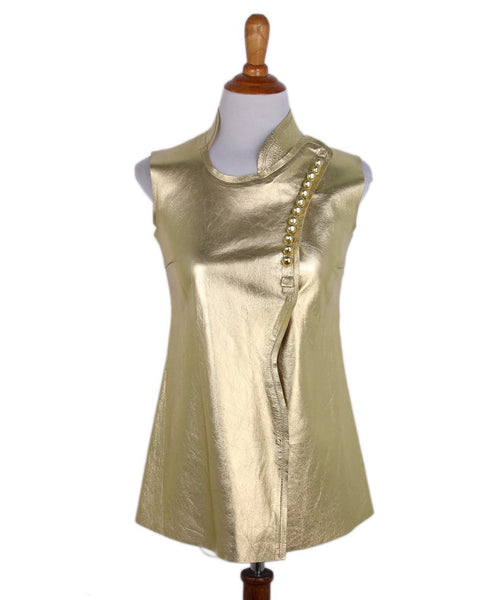 Prada Gold Leather Top 1