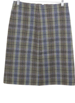 Prada Olive Blue Angora Wool Plaid Skirt 1