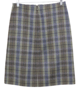 Prada Olive Blue Angora Wool Plaid Skirt 2