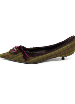 Prada Green Plaid Kitten Heels with Rhinestone Detail 2