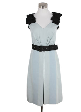Prada Grey Black Cotton Acrylic W/Belt Dress 1