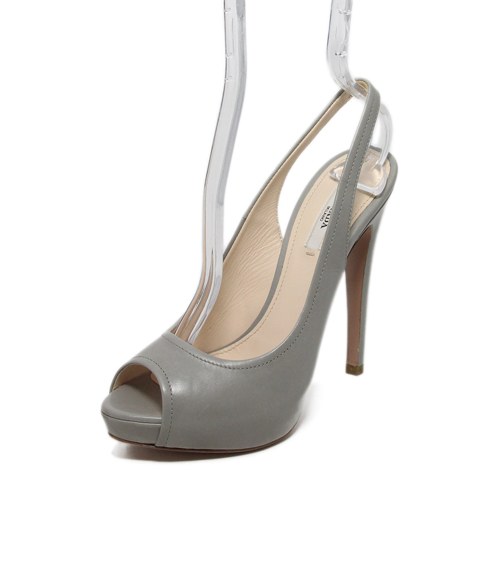 Prada Grey Leather Heels 1