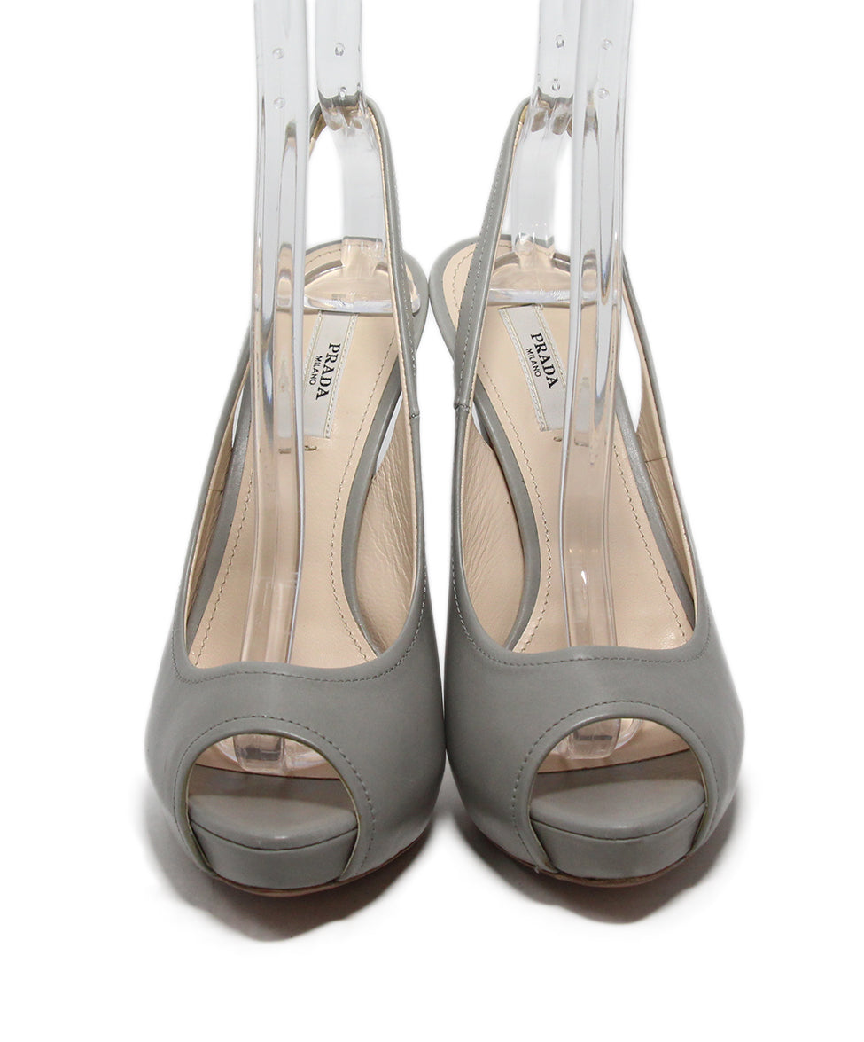 Prada Grey Leather Heels 4