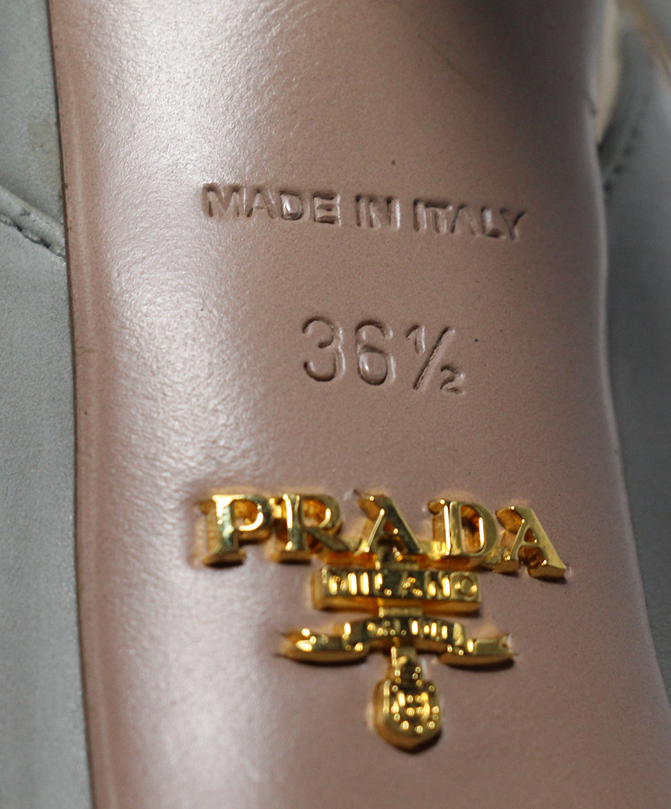 Prada Grey Leather Heels 6
