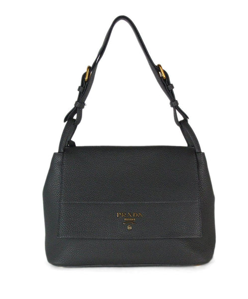 Prada Grey Leather Shoulder Bag 1