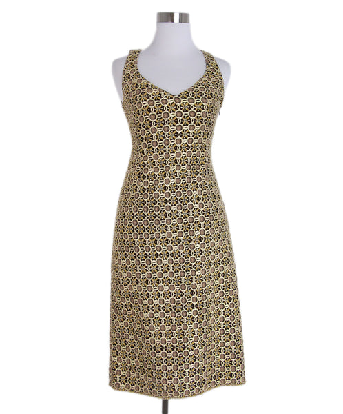 Prada Metallic Gold Brocade Dress 1