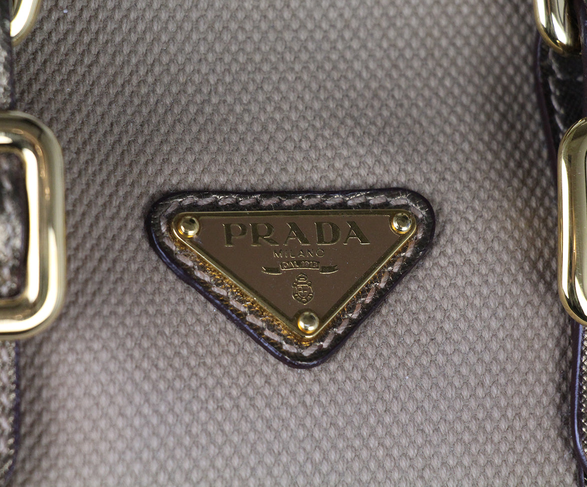 Prada Metallic Gold Leather Canvas Satchel 7