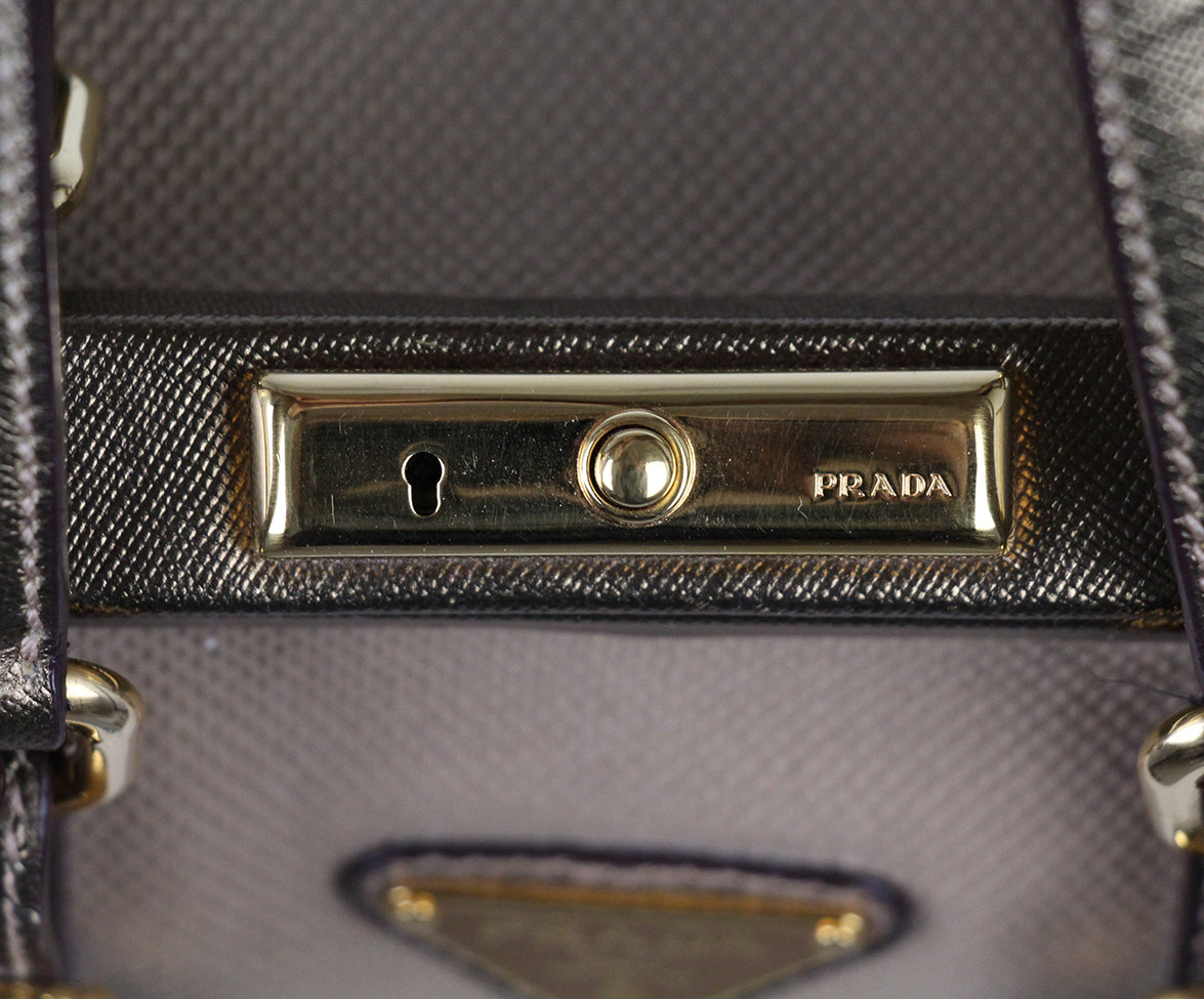 Prada Metallic Gold Leather Canvas Satchel 8