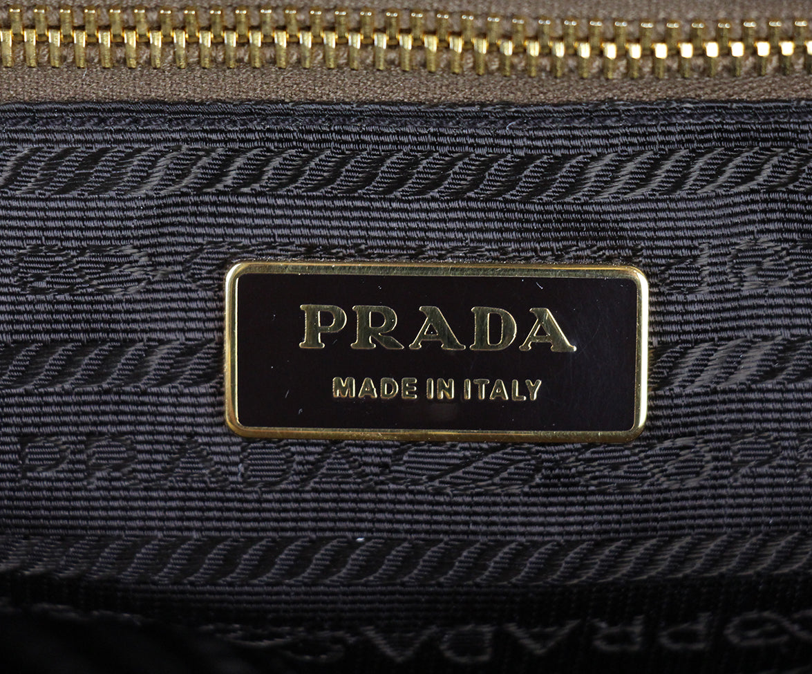 Prada Metallic Gold Leather Canvas Satchel 6