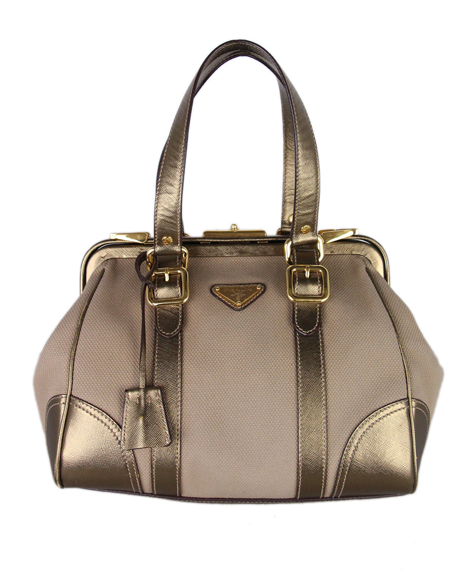 Prada Metallic Gold Leather Canvas Satchel 3