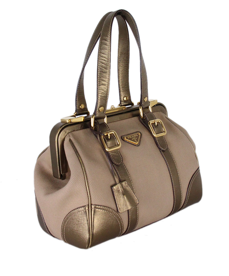 Prada Metallic Gold Leather Canvas Satchel 2