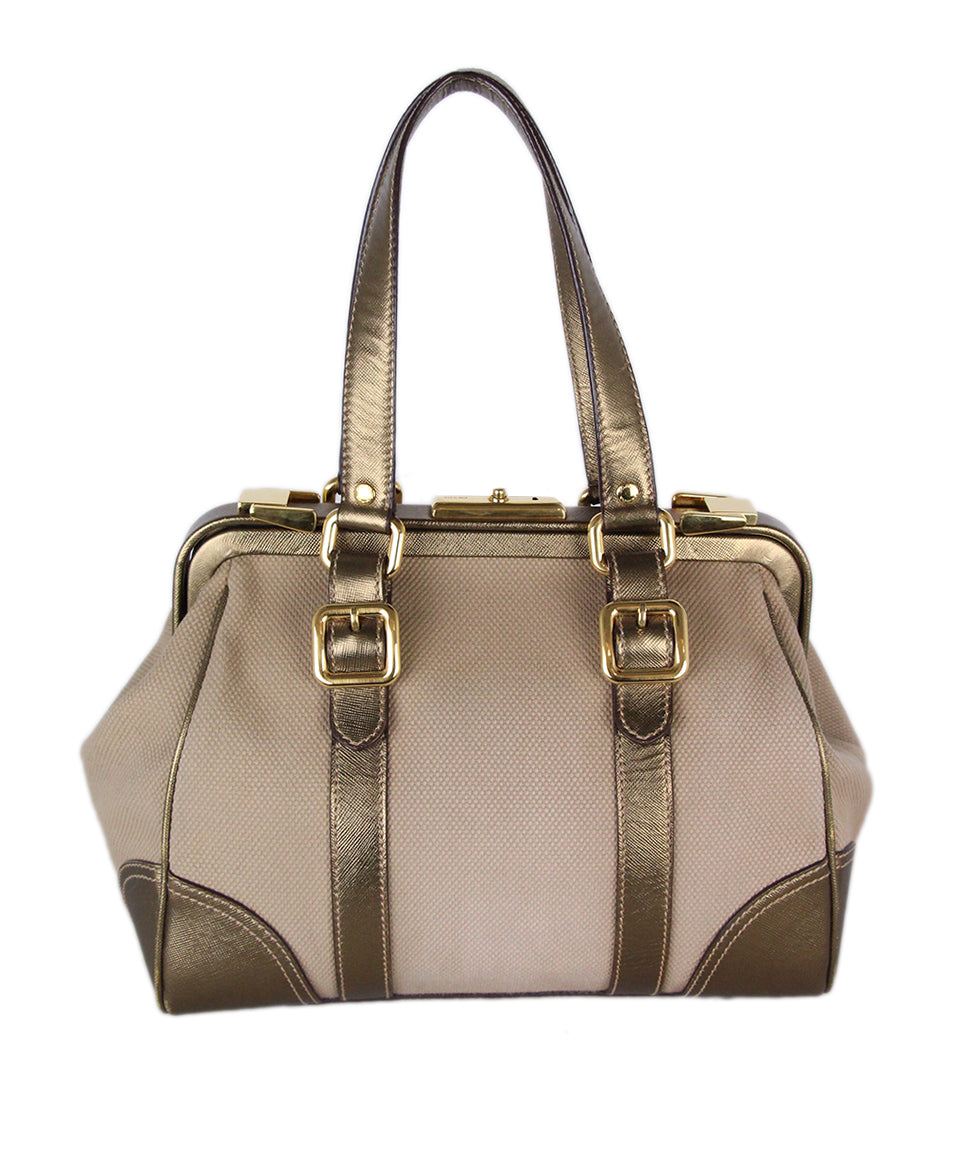 Prada Metallic Gold Leather Canvas Satchel 1